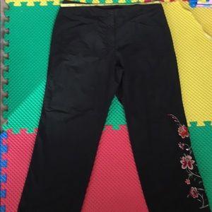 Venezia black side floral black pants